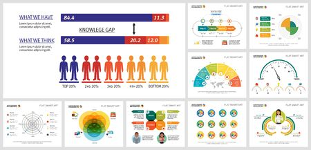 Creative infographic design set can be used for annual report, presentation slide, and web design. Production and marketing concept with pie, Venn, radar, radial bar charts, percentage, process