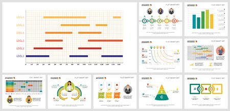 Colorful statistics or planning concept infographics set can be used for brochure design, presentation, and web design. It includes bar, line, radial bar charts, percentage, process, schedule
