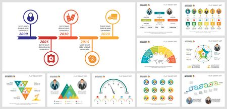 Colorful project or marketing concept infographics set can be used for workflow layout, brochure, annual report, presentation and includes flow, timeline, radar charts, cycles, percentage, process Ilustração