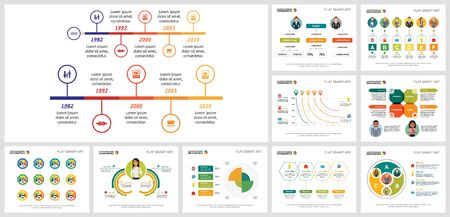 Colorful marketing or finance concept infographic set can be used for financial report, workflow layout, and brochure design. Infographics include pie, flow, line, timeline charts, cycles, percentage Ilustração