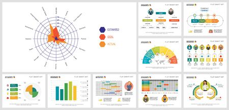 Colorful statistics or research concept infographics set can be used for workflow layout, annual report. Infographics include bar, pie, flow, radar, radial bar charts, cycles, percentage, process