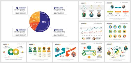 Colorful partnership or planning concept infographics set can be used for workflow layout, brochure design, annual report, presentation and includes pie, flow, line charts, cycles, percentage, process