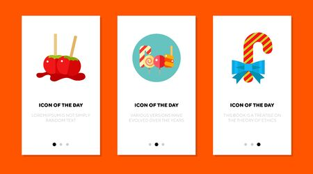 Sweets flat vector icon set. Candied apples, lollipops and candy cane isolated outline sign pack. Sweets concept. Vector illustration symbol elements for web design and apps. Ilustração