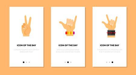 Gestures flat vector icon set. Hands showing peace, devil horns sign isolated outline sign pack. Gesturing concept. Vector illustration symbol elements for web design and apps. Ilustração