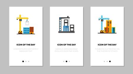 Construction site flat vector icon set. Cranes near buildings isolated outline sign pack. Construction concept. Vector illustration symbol elements for web design and apps.