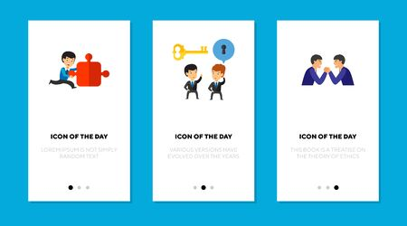 Business people solving problems flat vector icon set. Businessmen talking, competing isolated outline sign pack. Business concept. Vector illustration symbol elements for web design and apps.