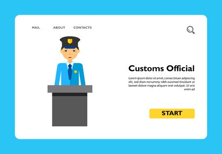Customs official. Control, check, airport. Airport concept. Can be used for topics like airport, travelling, control, customs Ilustração