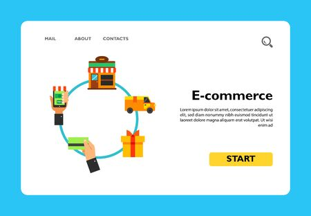 Scheme of online shopping. Internet store, customer, order. E-commerce concept. Can be used for topics like business, retail, electronic payment.