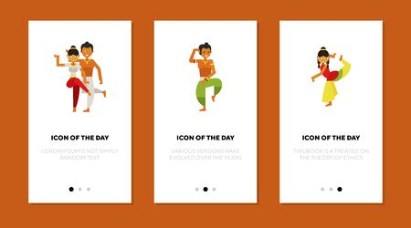 Indian people dancing flat vector icon set. Indian dancers wearing traditional clothing dancing isolated outline sign pack. Dancing concept. Vector illustration symbol elements for web design and apps