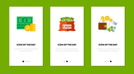 Dollar currency flat vector icon set. Green banknotes, golden coins isolated outline sign pack. Money concept. Vector illustration symbol elements for web design and apps.