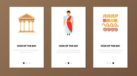 Roman Empire flat vector icon set. Ancient building with columns, man in tunic isolated outline sign pack. Roman Empire concept. Vector illustration symbol elements for web design and apps.