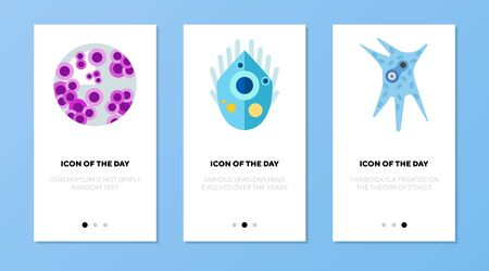 Microbes and microorganisms flat vector icon set. Colorful microorganisms isolated outline sign pack. concept. Vector illustration symbol elements for web design and apps.