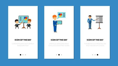 Business presentations flat vector icon set. Speakers near whiteboards or with tablet isolated outline sign pack. Presentation concept. Vector illustration symbol elements for web design and apps.