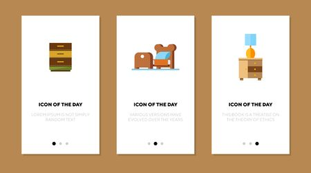 Home furniture flat vector icon set. Chest of drawers, bed, bedside table isolated outline sign pack. Furniture concept. Vector illustration symbol elements for web design and apps. Ilustrace