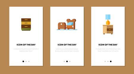 Home furniture flat vector icon set. Chest of drawers, bed, bedside table isolated outline sign pack. Furniture concept. Vector illustration symbol elements for web design and apps. Ilustração