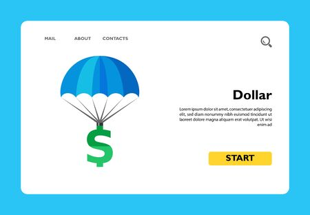 Dollar sign parachuting. Investment, profit, wealth. Insurance concept. Can be used for topics like banking, business, finance, economics. Ilustração