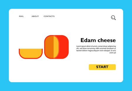 Vector icon of round edam cheese with cut piece. Dairy product, Dutch cheese, snack. Netherlands and food concept. Can be used for topics like food, Dutch cuisine, gastronomy
