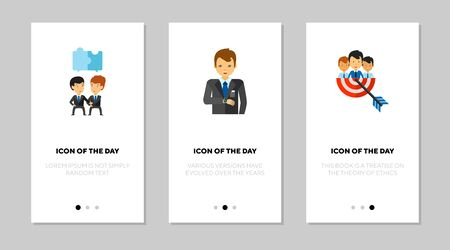 Business people flat vector icon set. Businessmen talking, aiming to target isolated outline sign pack. Business strategy concept. Vector illustration symbol elements for web design and apps.