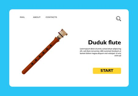 Icon of duduk, ancient woodwind flute. Audio, national instrument, orchestra. Music concept. Can be used for topics like music, festival, Armenian culture