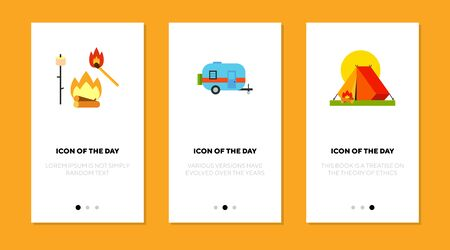 Camping flat vector icon set. Marshmallow on stick, travel trailer, tent isolated outline sign pack. Outdoor recreation concept. Vector illustration symbol elements for web design and apps.