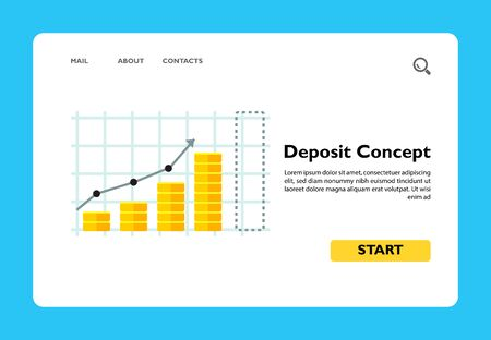 Bar chart represented by growing coin stacks. Success, interest, capital. Deposit concept. Can be used for topics like management, finance, business. Ilustração