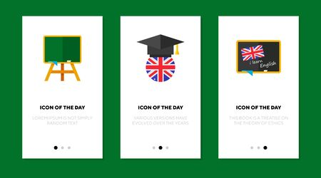 Knowledge flat vector icon set. Green chalkboard, UK flag in graduation cap isolated outline sign pack. Education concept. Vector illustration symbol elements for web design and apps. Ilustrace
