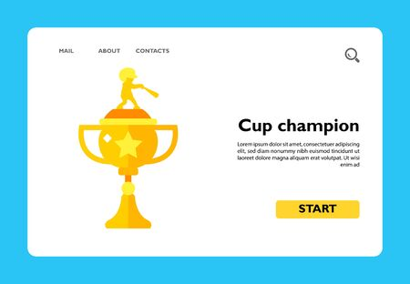 Icon of baseball championship trophy. National league, competition, victory. Contest concept. Can be used for topics like sport, game, cup Иллюстрация