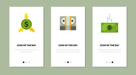 Dollar money flat vector icon set. Green coin, dollar banknotes isolated outline sign pack. Money concept. Vector illustration symbol elements for web design and apps.