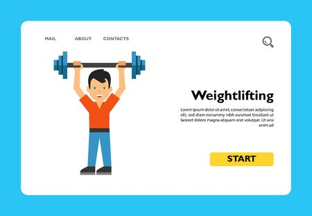 Icon of man lifting barbell. Gym, fitness, sport. Weightlifting concept. Can be used for topics like healthy lifestyle, bodybuilding, strength Фото со стока - 138348422