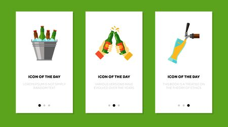 Beer flat vector icon set. Cold beer in ice bucket, hands clinking beer bottles, pouring isolated outline sign pack. Alcohol drink concept. Vector illustration symbol elements for web design and apps. Ilustração