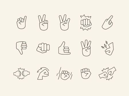 Set of hand gestures line icons. Gesturing isolated sign pack. Sign language concept. Vector illustration symbol elements for web design