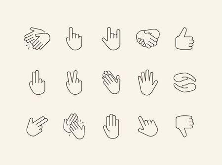 Hand gestures line icon set. Gesturing isolated sign pack. Gestures concept. Vector illustration symbol elements for web design