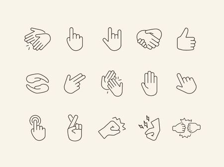 Set of sign language flat simple icons. Gesturing isolated sign pack. Gesture concept. Vector illustration symbol elements for web design