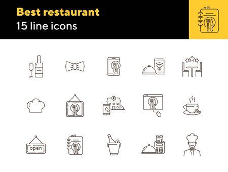 Best restaurant line icon set. Wine, table, dish, high rate isolated outline sign pack. Restaurant business concept. Vector illustration symbol elements for web design and apps