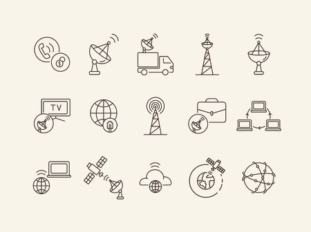 Satellite connection thin line icon set. Satellite, network, transmission, signal wave isolated sign pack. Communication services concept. Vector illustration symbol elements for web design and apps. Иллюстрация