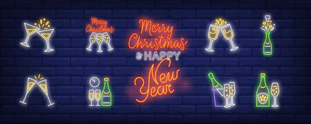 Christmas toast neon sign set. Fizzy wine, bottle, flutes, cocktail. Vector illustration in neon style, bright banner for topics like Xmas, New Year party, holiday