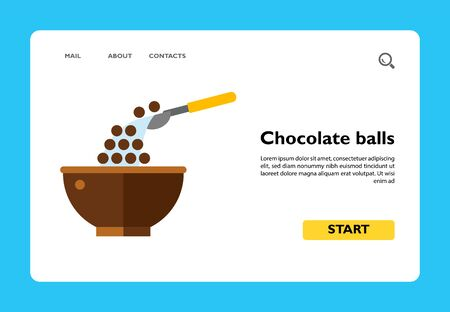 Icon of chocolate cereal balls. Meal, breakfast, morning. Healthy food concept. Can be used for topics like dieting, nutrition, portion