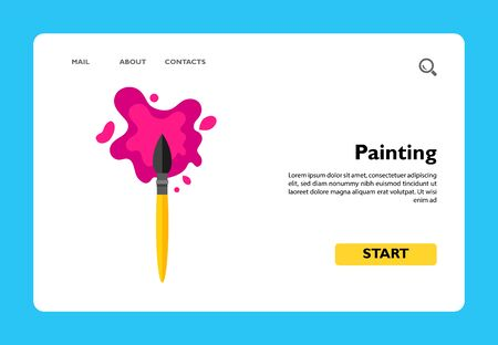 Multicolored vector icon of brush and paint blot representing creative painting concept