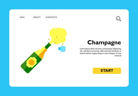 Icon of champagne explosion. Alcohol, toast, congratulation, beverage. Party concept. Can be used for topics like birthday, anniversary, celebration