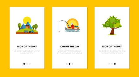 Summer activities flat vector icon set. Farm, fishing, tree isolated sign pack. Country lifestyle and nature concept. Vector illustration symbol elements for web design and apps.