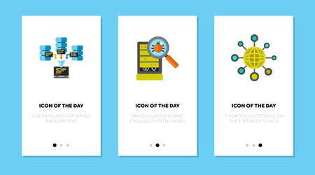 Internet and interweb flat vector icon set. Digital, server, network isolated sign pack. Information and technology concept. Vector illustration symbol elements for web design and apps.