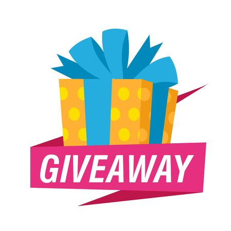 Giveaway bright sign with yellow gift. Bright presents and text on white background. Can be used for leaflets, brochures, announcements