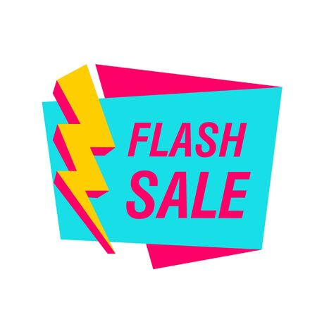 Flash sale banner with yellow lightning bolt. White background. Big sale, special offer, discounts. Sale concept Ilustracja
