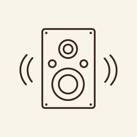 Music speaker thin line icon. Audio speaker concept. Vector illustration symbol elements for web design and apps. Ilustração