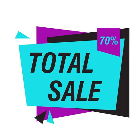 Total sale 70 percent off advertisement banner. White background. Big sale, special offer, discounts, clearance. Sale concept