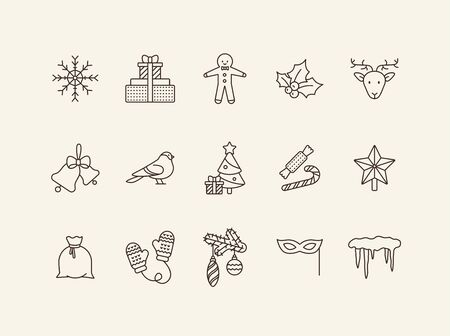 Xmas thin line icon collection. Gingerbread man, mittens, robin sign pack. Winter holidays concept. Vector illustration symbol elements for web design and apps