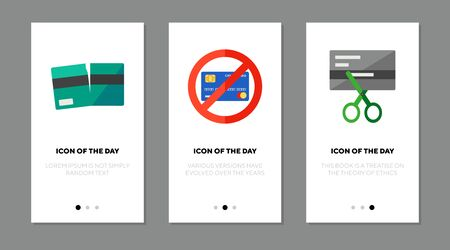 Credit card breaking flat icon set. Crack, prohibition, cutting isolated sign pack. Banking, finance, budget concept. Vector illustration symbol elements for web design