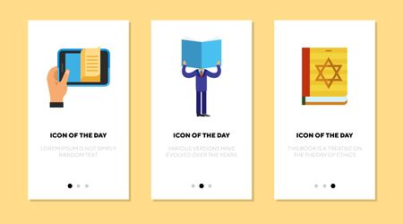 Book reading flat icon set. Mobile phone app, reader, torah book isolated sign pack. Hobby, knowledge, religion concept. Vector illustration symbol elements for web design Ilustrace