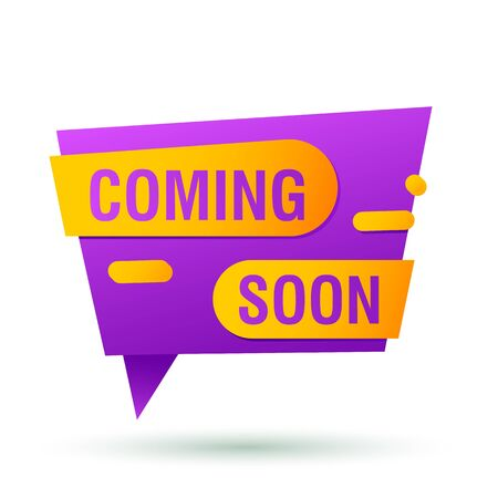 Coming soon violet banner design. Speech bubble origami shape vector illustration. Abstract graphic element with text. Template for promotion poster, advertising label or flyer
