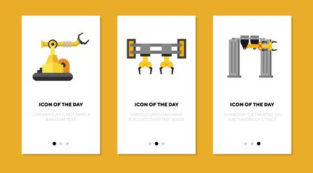 Robotic arms flat icon set. Control, mechanism, machine isolated sign pack. Machinery, production, industrial technology concept. Vector illustration symbol elements for web design